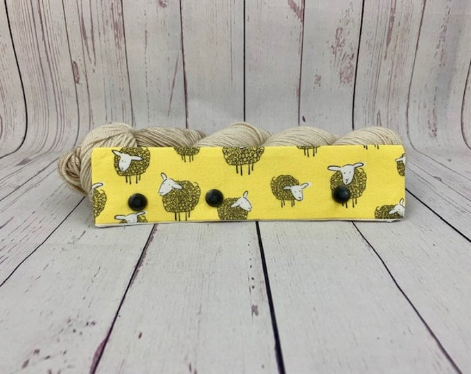 "Yellow Sheep, Circular Needle Progress Holder,  6-8"" DPN Progress Holder for Knitting"