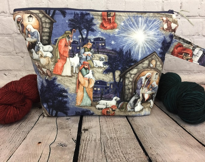 Nativity Project bag, Knitting project bag, Crochet project bag,  Zipper Project Bag, Yarn bowl, Yarn tote