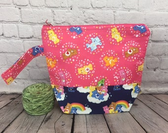 Bears Rainbow w/ Full length pocket, Knitting project bag, Crochet project bag,  Zipper Project Bag, Yarn bowl