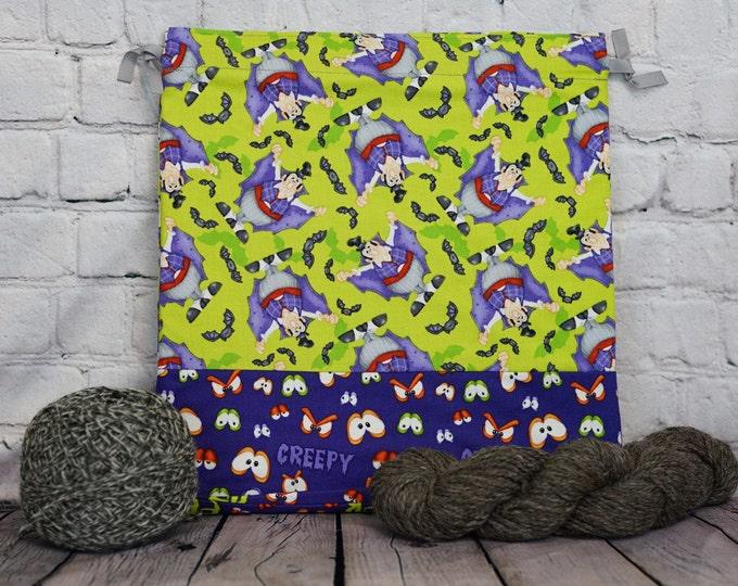 Count Dracula Knitting Project Bag, Crochet Project Bag, Yarn Bag, Fiber Project Bag, Sock knitting bag, Shawl project bag