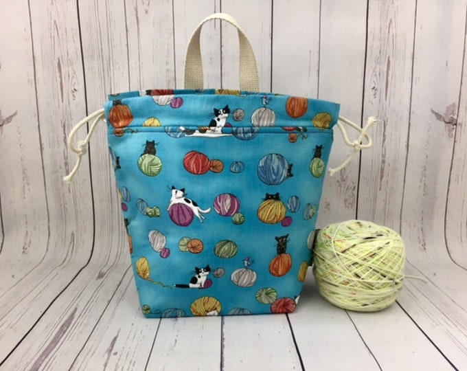 Cats and Yarn - Blue, Shocks (Socks to Shawl Bag), Knitting project bag, Crochet project bag, Shawl knitting bag, Sock Knitting bag
