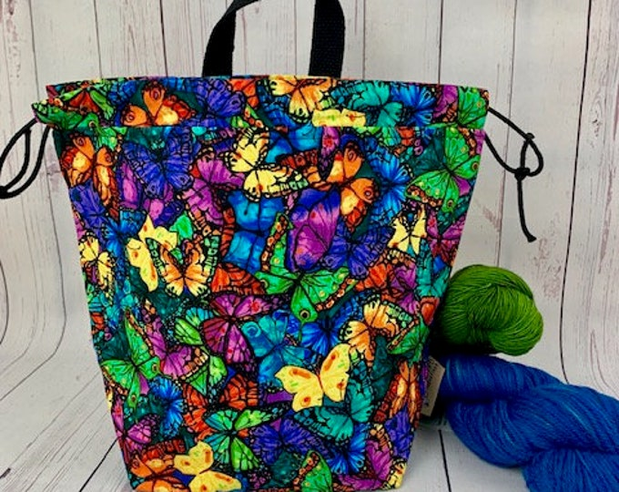 Jewel Butterfly, Twisted Bucket bag, Knitting project bag, Crochet project bag,  Project Bag, Yarn bowl, Large Project bag