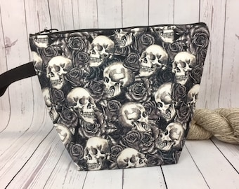 Skulls and Roses, Knitting project bag, Crochet project bag,  Zipper Project Bag, Yarn bowl, Skull bag
