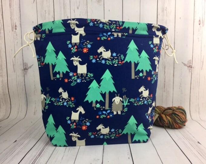 Goats,  Shweater bag, XL  Project bag, Knitting bag, Crochet project bag,  Project Bag, Sweater knitting bag, Shawl Knitting bag