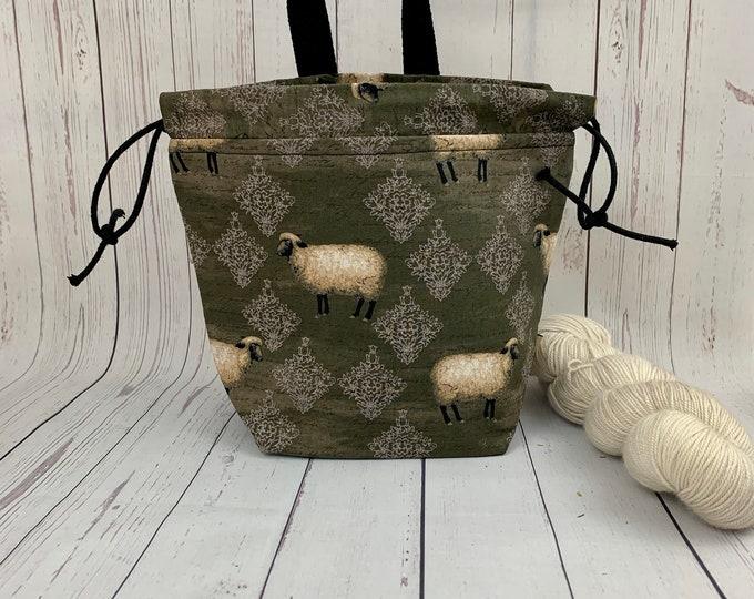 Rugged Sheep -Olive ,Shocks (Socks to Shawl Bag), Knitting project bag, Crochet project bag, Shawl knitting bag, Sock Knitting bag