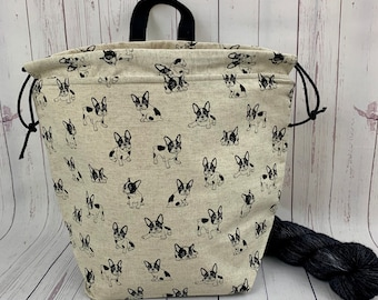 Boston Terrier , Twisted Work Bag, Large Canvas project bag w/ full length pocket, Shawl /Sweater Knitting, Crochet Project, Needle