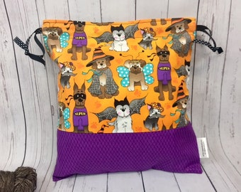 Halloween Dogs in Costume,  Knitting project Bag, Crochet Bag, Yarn Bag,  Project Bag, Sock knitting bag, Drawstring project bag