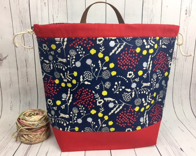 Floral Canvas Shweater bag, (On sale due to oops!!) XL  Project bag, Knitting bag, Crochet project bag,  Project Bag, Yarn bowl