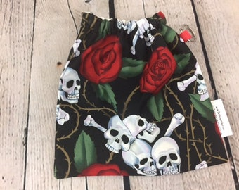 Skulls and Roses, Yarn Ball bag, Yarn Bowl, Yarn Holder