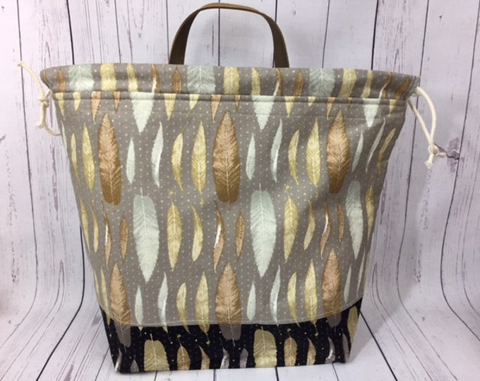 Feathers Shweater bag, XL  Project bag, Knitting bag, Crochet project bag,  Project Bag, Yarn bowl, Sweater bag
