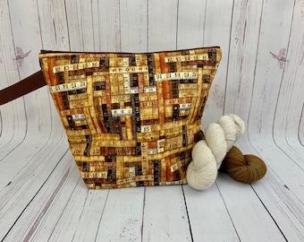 Rustic Wood Ruler bag, Zipper Twisted Bucket bag, Knitting project bag, Crochet project bag,  Project Bag, Yarn bowl, Large Project bag