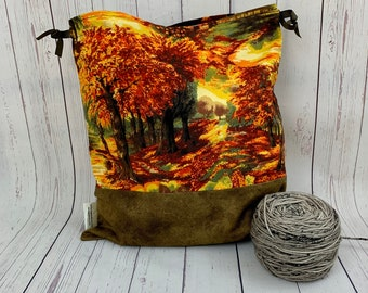 Autumn Day,  Knitting Project Bag, Crochet Project Bag, Yarn Bag, Fiber Project Bag, Sock knitting bag, Shawl projec