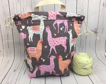 Alpaca / Llama Bucket Bag, Knitting project bag, Crochet project bag,  Zipper Project Bag, Yarn bowl