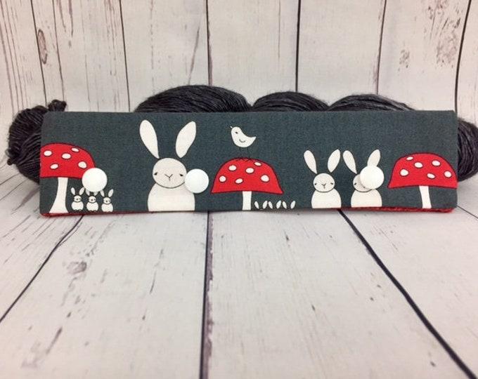 "Bunnies and Mushrooms- Grey, Circular Needle Progress Holder,  6-8"" DPN Progress Holder for Knitting"