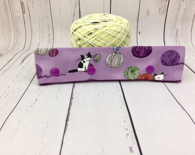 "Cats and Yarn - Purple, Circular Needle Progress Holder,  6-8"" DPN Progress Holder for Knitting, Needle Holder, Needle cozy"