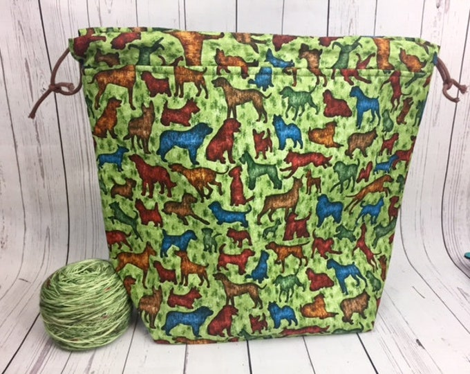 Dogs Shweater bag, XL  Project bag, Knitting bag, Crochet project bag,  Project Bag, Yarn bowl