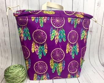 Dreamcatchers Shweater bag, XL  Project bag, Knitting bag, Crochet project bag,  Project Bag, Yarn bowl
