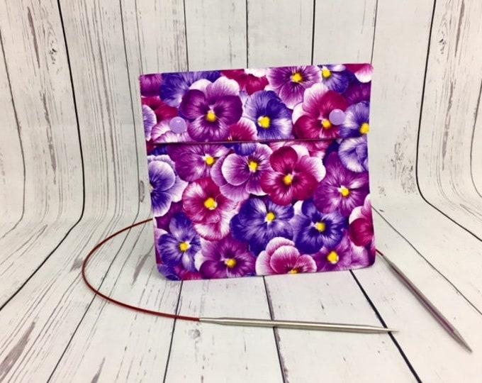Purple Pansies,  Circular Knitting Needles Case or Knitting Notions Case, Crochet notions case, Accessories case, Circular Case