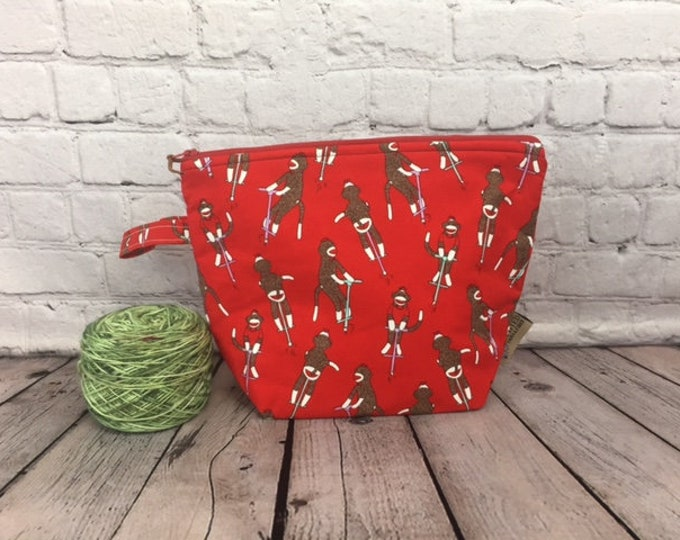 Sock Monkey w/ Full length pocket, Knitting project bag, Crochet project bag,  Zipper Project Bag, Yarn bowl, Yarn tote