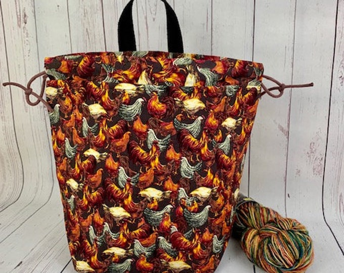 Roosters, Bucket bag, Knitting project bag, Crochet project bag,  Project Bag, Yarn bowl, Large Project bag
