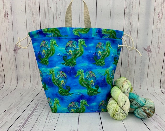 Siren of the Sea, Twisted Bucket bag, Knitting project bag, Crochet project bag,  Project Bag, Yarn bowl, Large Project bag