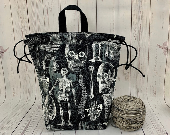 Skeleton,Twisted Bucket bag, Knitting project bag, Crochet project bag,  Project Bag, Yarn bowl, Large Project bag