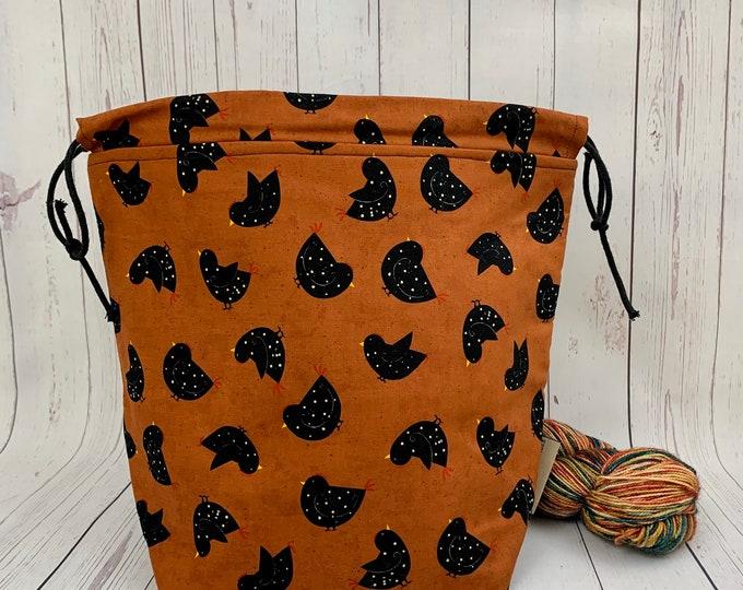 Autumn Chicks, Bucket bag, Knitting project bag, Crochet project bag,  Project Bag, Yarn bowl, Large Project bag