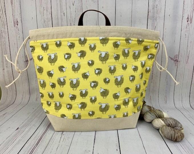 Yellow Sheep, Shweater bag, XL  Project bag, Knitting bag, Crochet project bag,  Project Bag, Yarn bowl