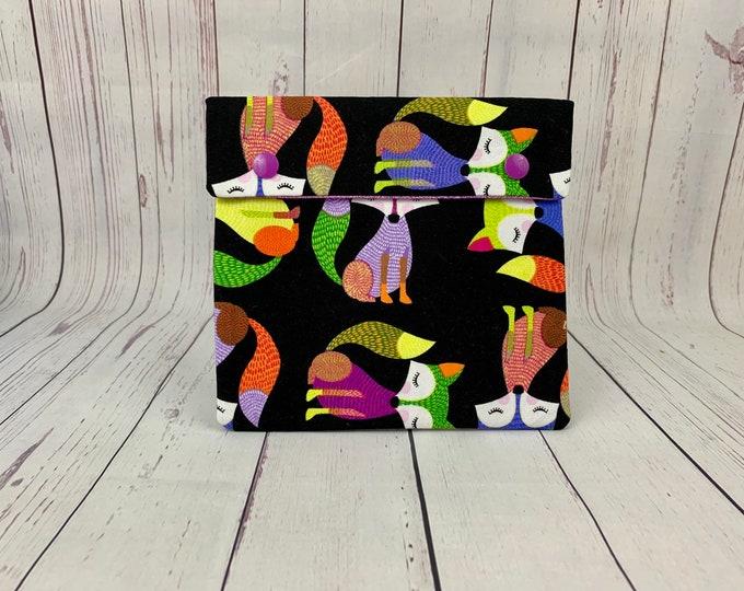 Bright Fox, Circular Knitting Needles Case or Knitting Notions Case, Crochet notions case, Accessories case, Circular Case