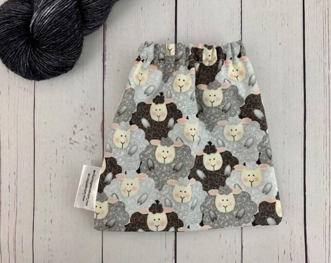 Gray Sheep, Yarn Ball bag, Yarn Bowl, Yarn Holder, Yarn cake Bag, Holds Yarn Mini-Most Bulky