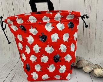 SHeep ,Twisted Bucket bag, Knitting project bag, Crochet project bag,  Project Bag, Yarn bowl, Large Project bag