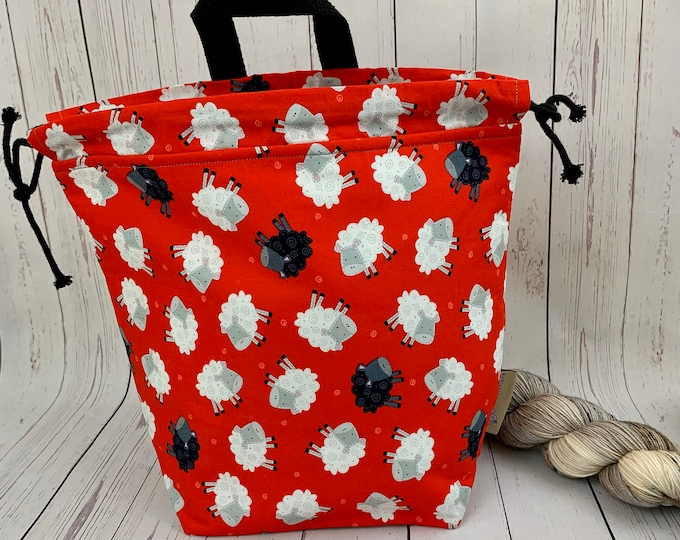 SHeep ,Twisted Bucket bag, Knitting project bag, Crochet project bag,  Project Bag, Yarn bowl, Large Project bag