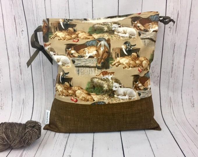 Farm bag w/ horses / golden retrievers/ sheep,  Knitting project Bag, Crochet Bag,  Project Bag, Sock knitting bag, Drawstring project bag