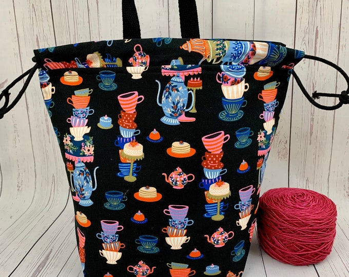 Time For Tea, Twisted Bucket bag, Knitting project bag, Crochet project bag,  Project Bag, Yarn bowl, Large Project bag