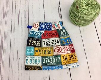License Plates, Yarn Ball bag, Yarn Bowl, Yarn Holder, Yarn Cozy