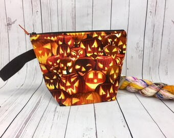 Jack O Lantern Bag, Halloween bag, Knitting project bag, Crochet project bag,  Zipper Project Bag, Yarn bowl