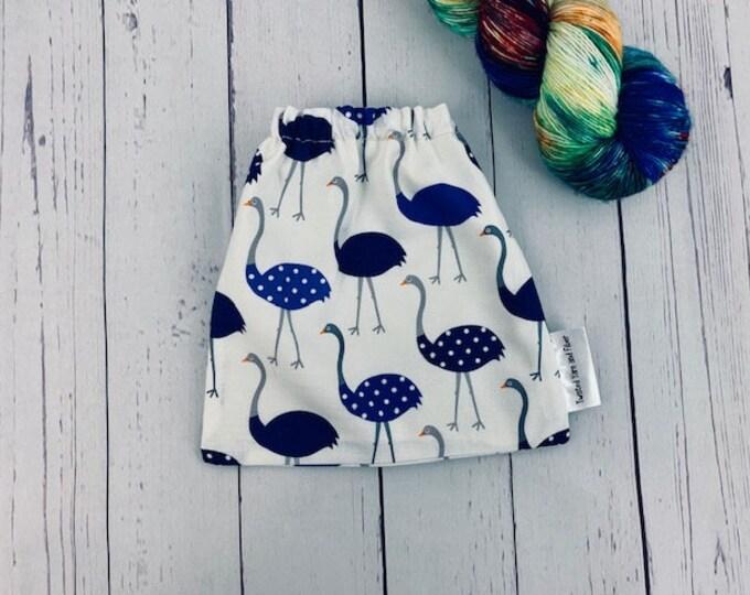 Ostrich, Yarn Ball bag, Yarn Bowl, Yarn Holder, Yarn cake Bag, Holds Yarn Mini-Most Bulky