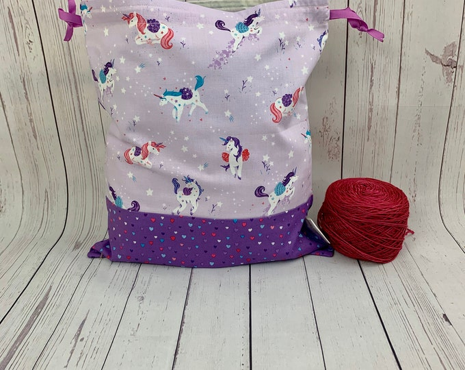 Unicorn Magic,  Knitting Project Bag, Crochet Project Bag, Yarn Bag, Fiber Project Bag, Sock knitting bag, Shawl projec