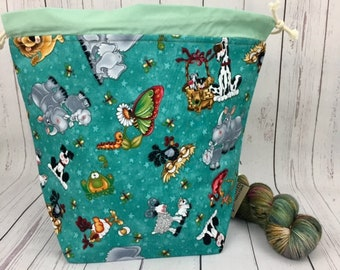Animals and Friends, Bucket bag, Knitting project bag, Crochet project bag,  Project Bag, Yarn bowl, Large Project bag