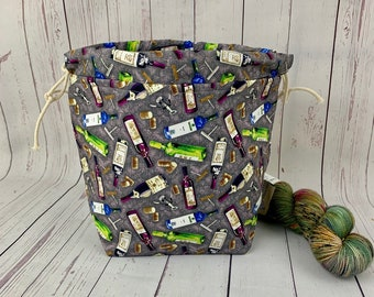 Wine, Shocks (Socks to Shawl Bag), Knitting project bag, Crochet project bag, Shawl knitting bag, Sock Knitting bag