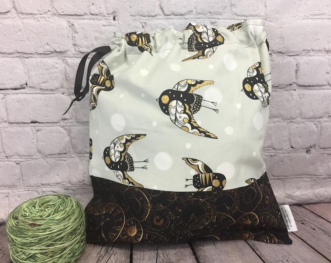 Steampunk Owls bag,  Knitting Project Bag, Crochet Project Bag, Yarn Bag,  Project Bag, Sock knitting bag