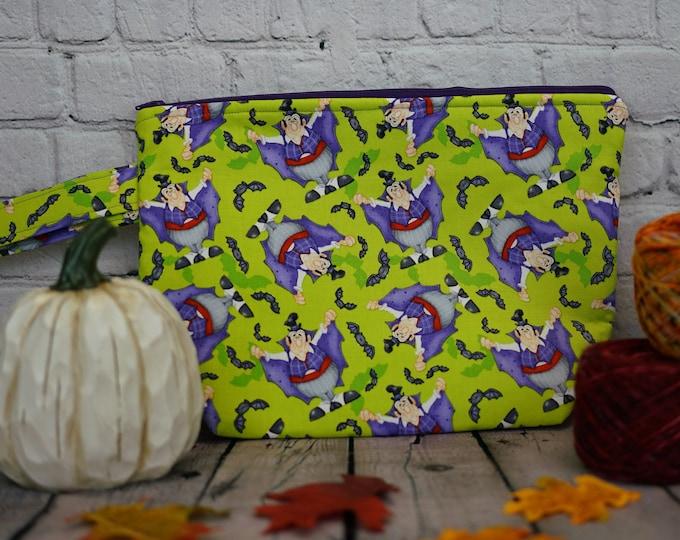 Count Dracula- Vampire Small Project bag, Knitting project bag, Crochet project bag,  Zipper Project Bag, Yarn bowl, Yarn tote