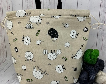 Sheep on Canvas,  Shweater bag, XL  Project bag, Knitting bag, Crochet project bag,  Project Bag, Sweater knitting bag, Shawl Knitting bag
