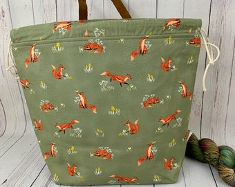 Playful Fox, Shweater bag, XL  Project bag, Knitting bag, Crochet project bag,  Project Bag, Yarn bowl