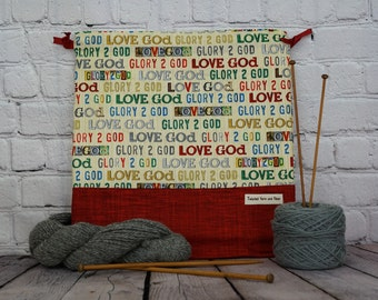 Glory 2 God,  Knitting project Bag, Crochet Project Bag, Yarn Bag, Shawl Knitting bag, Project Bag, Sock knitting bag
