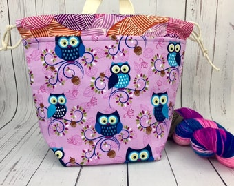 Owls, Shocks (Socks to Shawl Bag), Knitting project bag, Crochet project bag, Shawl knitting bag, Sock Knitting bag