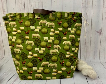 Sheep Folk Farm, Shweater bag, XL  Project bag,Knitting bag,Crochet project bag, Project Bag, Sweater knitting bag, Shawl Knitting bag