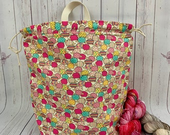 Pink Hedgehogs , Twisted Work Bag, Large Canvas project bag w/ full length pocket, Shawl /Sweater Knitting, Crochet Project, Needle Arts bag