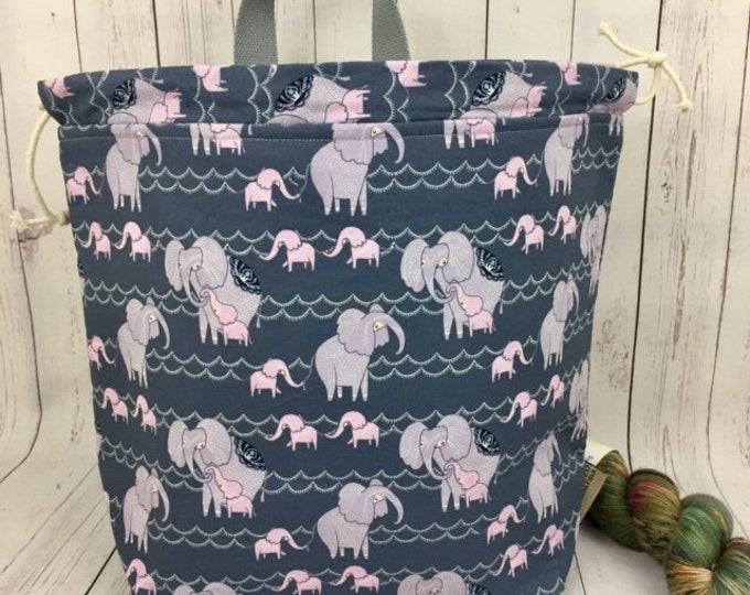 Elephants, Shweater bag, XL  Project bag, Knitting bag, Crochet project bag,  Project Bag, Sweater knitting bag, Shawl Knitting bag