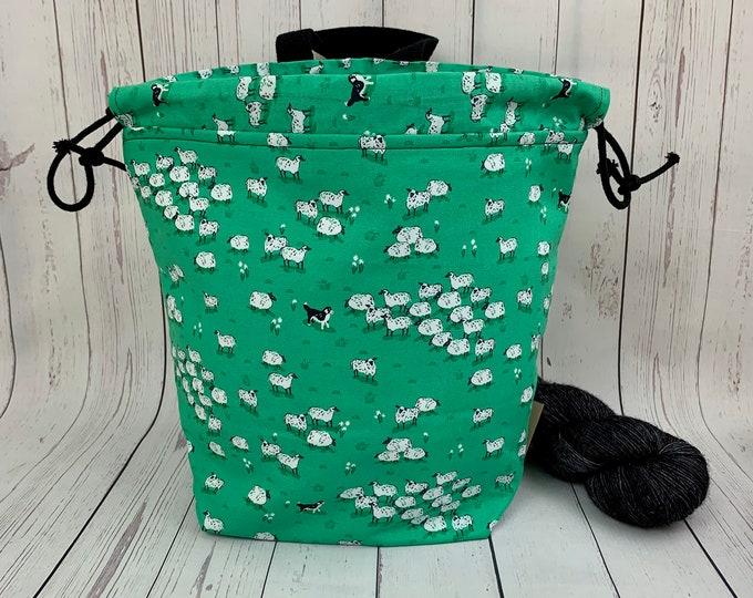 Herding Sheep ,Twisted Bucket bag, Knitting project bag, Crochet project bag,  Project Bag, Yarn bowl, Large Project bag